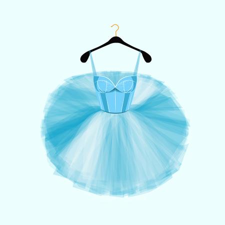 Blue vector dress for ballet dencer. Ballet tutu dress. Fashion illustration