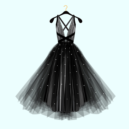 Beautiful black dress for special event. Vector Fashion illustration  イラスト・ベクター素材