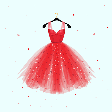 Red Dress for Valentine day party card. Vector Fashion illustration Illustration