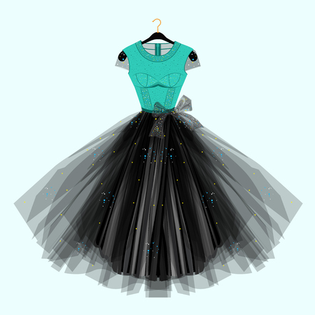 Dress with for special event. Vector Fashion illustration