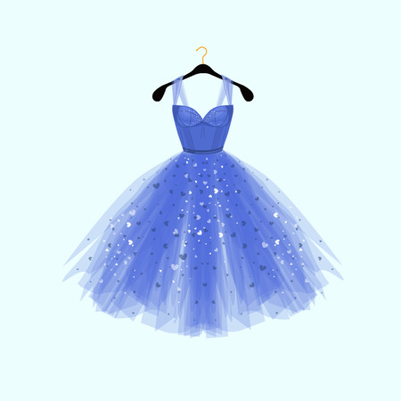 Beautiful blue dress for special event. Vector Fashion illustration