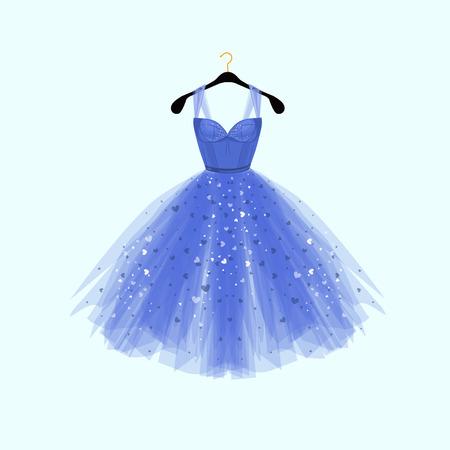 Hermoso vestido azul para evento especial. Vector ilustración de moda