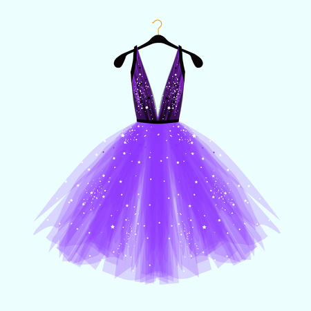 Black and ultra violet fancy dress for special event with decor. Vector Fashion illustration for online shop