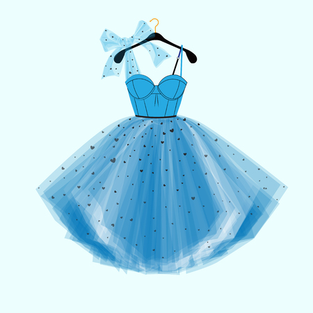 Party Prom dress with fancy bow decor. Fashion illustration