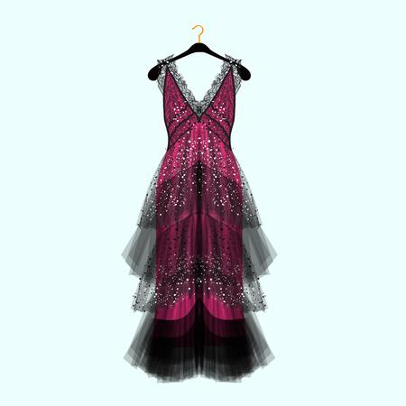 Retro style dress with rhinestones. Celebrity dress.Luxury dress. Fashion vector illustration  イラスト・ベクター素材