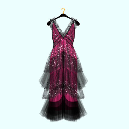 Retro style dress with rhinestones. Celebrity dress.Luxury dress. Fashion vector illustration 版權商用圖片 - 104277325