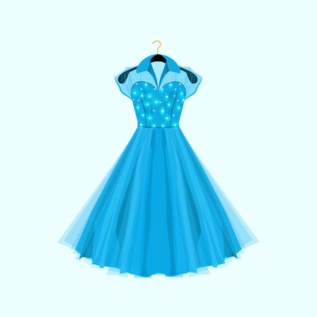 Retro style blue party dress. Vector fashion illustration. Dress with decor.
