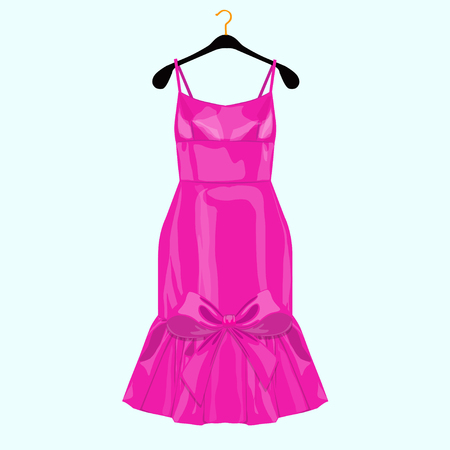 Pink birthday party dress with bow. Fashion illustration for shoping cart
