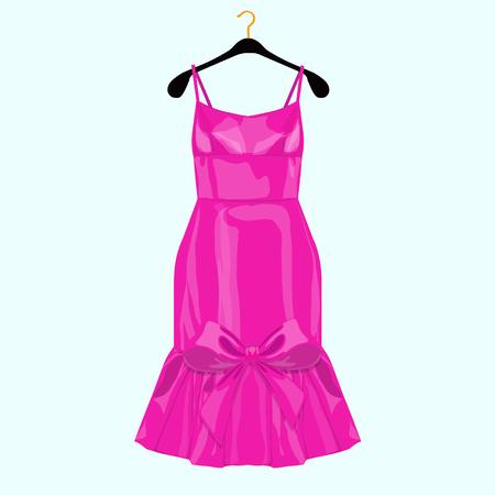 Vestido de fiesta de cumpleaños rosa con lazo. Ilustración de moda para carrito de compras.