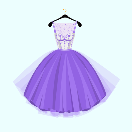 Violet Party dress. Vintage style party dress with flowers decoration.Vector illustration. Fashion couture dress  イラスト・ベクター素材