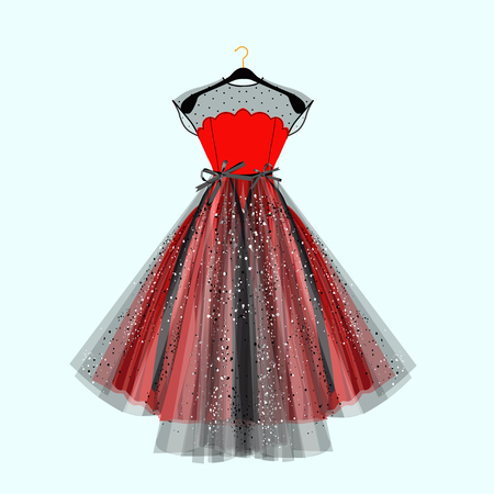 Black and red fancy dress for special event with decor. Vector Fashion illustration for online shop  イラスト・ベクター素材