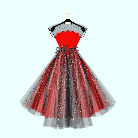 Disfraz negro y rojo para evento especial con decoración. Ilustración de moda vectorial para tienda online