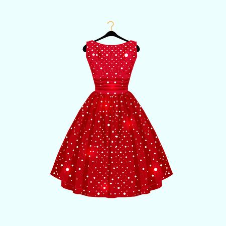 Vestido rojo con lunares blancos para tarjeta de fiesta. Vector ilustración de moda Ilustración de vector
