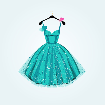 Blue birthday party dress with bow heart. Fashion illustration for invitation card