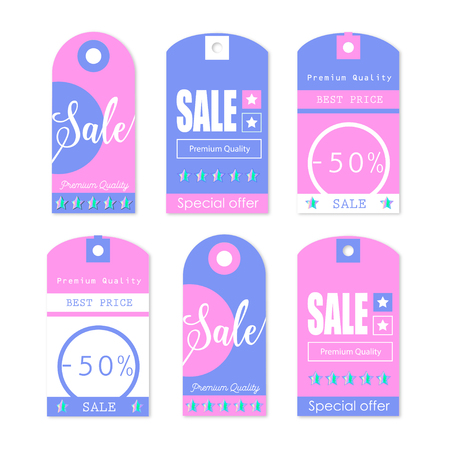 Sale Tags with sale messages and holographic stars  イラスト・ベクター素材