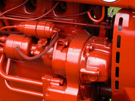 agribusiness: Close-up of tractor engine