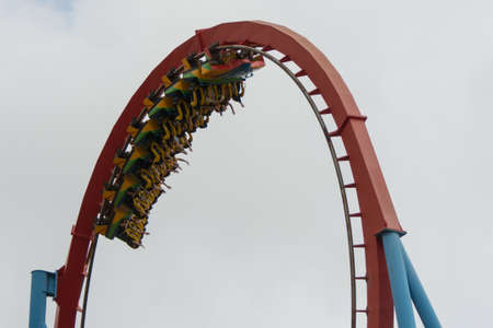 PortAventura Park, Salou (Spain) - May 18, 2021: Port Aventura is the most visited theme park in Spain. This is a view of the rollercoaster Dragon Khan. Éditoriale