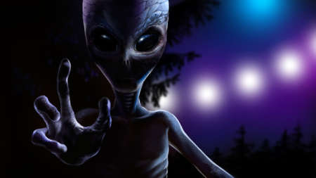 spacecraft: The alien holding a hand up, trying to grab you and welcome. At night, on the background of trees and the lights from the spacecraft.
