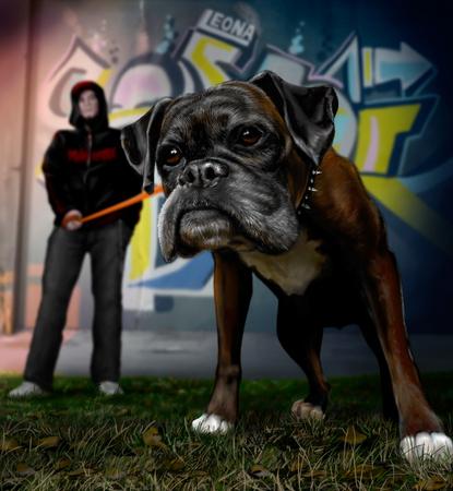 Man walks on orange leash his dog breed bullmastiff. Autumn Square, graffiti and a host with a dog.