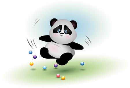 maldestro: A clumsy panda bear falls. Animal sad, frightened and perplexed