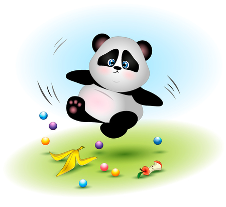 The fat and clumsy panda. The animal slipped on the peel from the banana. People pollute the environment and harm wild animals. Prohibition to feed animals in zoos.