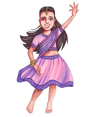 Little Indian baby girl barefoot dances a traditional national dance in a pink sari. Hand-drawn illustration of a watercolor.