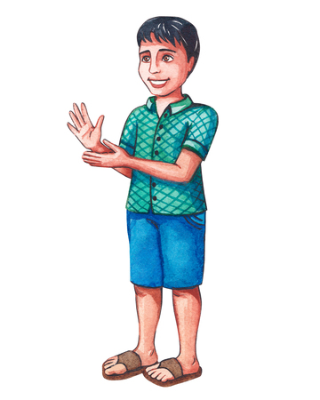 Little Indian boy claps his hands, applauds someone. Hand drawn illustration of a watercolor, isolated. 스톡 콘텐츠