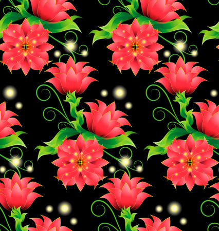 Seamless pattern with decorative magical red flowers, bright, green leaves, curls and sprouts on a black contrasting background. Over flower bud glow magical lights, fireflies, circles, radiant points