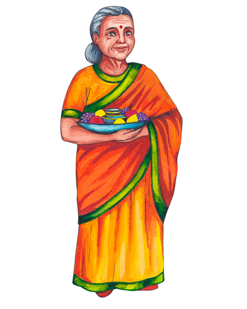 Indian old woman, elderly woman in a bright, yellow-orange colored national, traditional sari dress with a green trim. In hands of a grandmother holding a dish with fruits. Hand-drawn illustration.