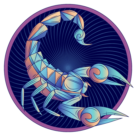 Scorpio zodiac sign, horoscope symbol. Futuristic style icon. Stylized graphic blue scorpion with raised up sting and pincers, ready to attack. Portrait scorpio in circle. Vector illustration. 일러스트