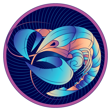Cancer zodiac sign, astrological, horoscope symbol. Futuristic style icon. Stylized graphic blue crayfish swimming in a circle, side view, with large pincers and mustache. Vector illustration.