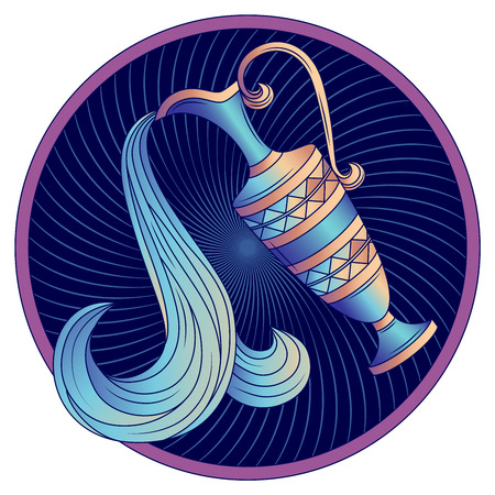 Aquarius zodiac sign, astrological, horoscope symbol. Futuristic icon. Stylized graphic blue amphora decorated with a geometric pattern. Water is poured from a jug with a handle. Vector illustration. 일러스트