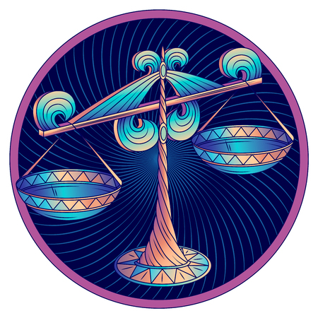 Cancer zodiac sign, astrological, horoscope symbol. Futuristic style icon. Stylized graphic blue scales is decorated with the ornate decor and geometric pattern on the scale pans. Vector illustration. 일러스트