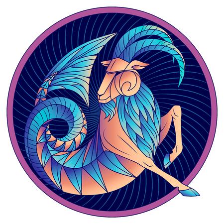 Capricornio signo del zodíaco, astrológico, símbolo del horóscopo. Icono de estilo futurista. Animal fantástico azul gráfico estilizado, deidad de la antigua Grecia. Cabra de mar con cola de pez, barba y grandes cuernos. Arte vectorial