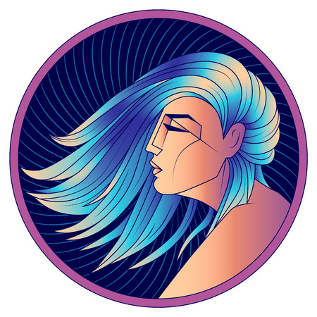 Virgo zodiac sign, horoscope, astrological symbol. Futuristic style icon. Stylized graphic  profile portrait of the young beautiful woman with long, straight blue hair flowing in the wind. 일러스트