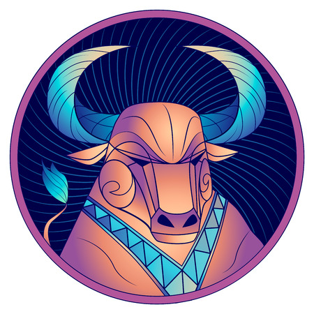 Taurus zodiac sign, astrological horoscope symbol. Futuristic style icon. Stylized graphic portrait of the stately ox. Proud bull with blue big twisted horns. Powerful mule looking to the side.