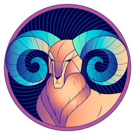 Aries zodiac sign, astrological, horoscope symbol. Futuristic style icon. Stylized graphic portrait of the stately, proud male sheep with blue big twisted horns. Ram looking to the side.