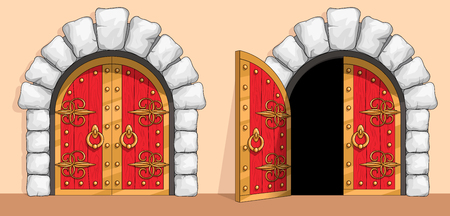 Red wooden gates of a medieval ancient castle or fortress. There is an arch of white stone around the door. A gate are decorated with wrought iron and gold. Open and closed doors. Vector illustration. 일러스트