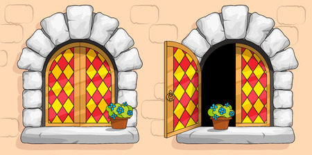 The windows of a medieval ancient old castle or fortress are framed with a gold frame. Open and closed casements with red stained glasses. White stone arch around the window. Pot with a flower.