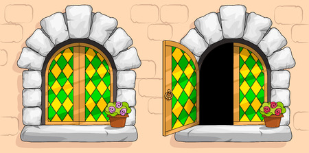 A windows of a medieval ancient old castle or fortress are framed with a gold frame. Open and closed casements with green stained glasses. White stone arch around the window. Pot with a flower.