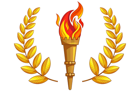Torch with burning fire and golden laurel around on a white background. Isolated object. The symbol of sports victories, a victory of the champion of the competition. Sign laurel wreath. Gold. 일러스트