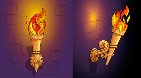 Torches with burning fire side view and frontal with ornate decor. Demountable golden torch in a holder attached to a stone wall of a castle. Cartoon style suitable for game design. Night. Vector art.