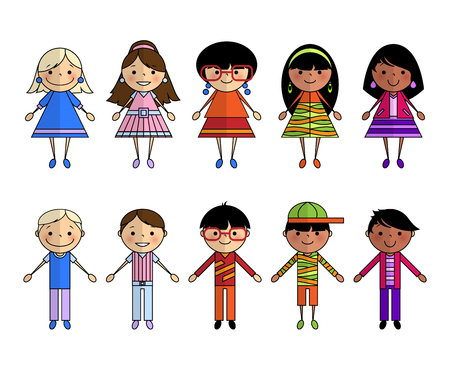 Funny cartoon people, boys and girls of different nationalities and ethnic groups in bright, colorful clothes on a white background. Brothers and sisters, twins. Drawn cardboard men and women.