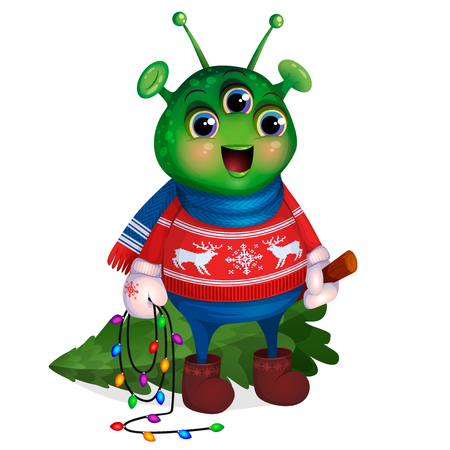 Funny green humanoid, illustration for the postcard Merry Christmas and Happy New Year. Cute Alien in red sweater with deer, mittens, scarf. Martian holds in hands felled Christmas tree, carries home.