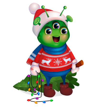 Funny green humanoid, illustration for the postcard Merry Christmas and Happy New Year. Cute Alien in red sweater with deer, mittens, scarf and hat, holds in hands felled Christmas tree, carries home.