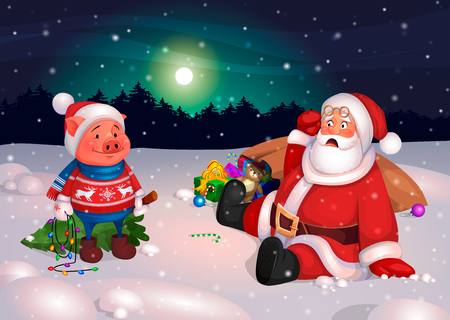 Ready creative and funny illustration for the postcard Merry Christmas and Happy New Year of pig. Santa Claus met an Piggy with a Christmas tree at night. Santa seeing a pig in surprise fell. Vector. 일러스트