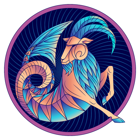 Capricorn zodiac sign, astrological, horoscope symbol. Futuristic style icon. Stylized graphic blue fantastic animal, deity of ancient Greece. Sea goat with fish tail, beard and big horns. Vector art