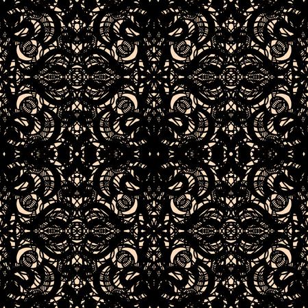 Seamless abstract openwork pattern, black lace on beige background. Guipure embroidered ornament of ornate curly elements. Vintage lacy tracery, elegant thick tulle texture. Gothic lace weave. Vector. 일러스트