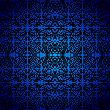 Seamless background baroque, Damascus style black color ornament, blue background. Neoclassic elements decoration. Vintage luxury vector pattern. Retro Victorian. Wallpaper, print packaging, textiles. 일러스트