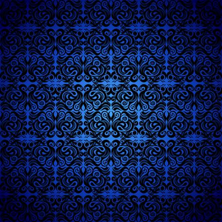 Arrière-plan transparent baroque, ornement de couleur noire de style Damas, fond bleu. Décoration d'éléments néoclassiques. Modèle vectoriel de luxe vintage. Rétro victorien. Papier peint, emballages imprimés, textiles.